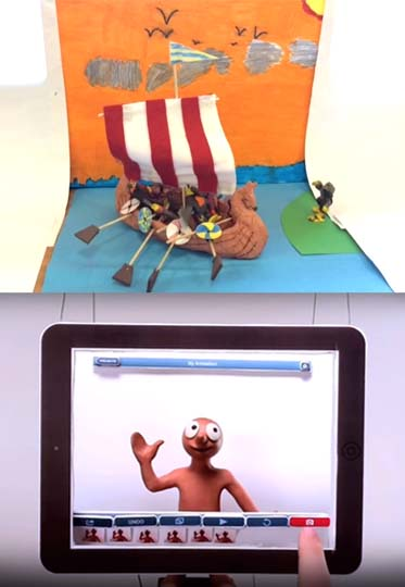 Children's animation in an after school animation club using iPads with iMovie and Animate It apps.