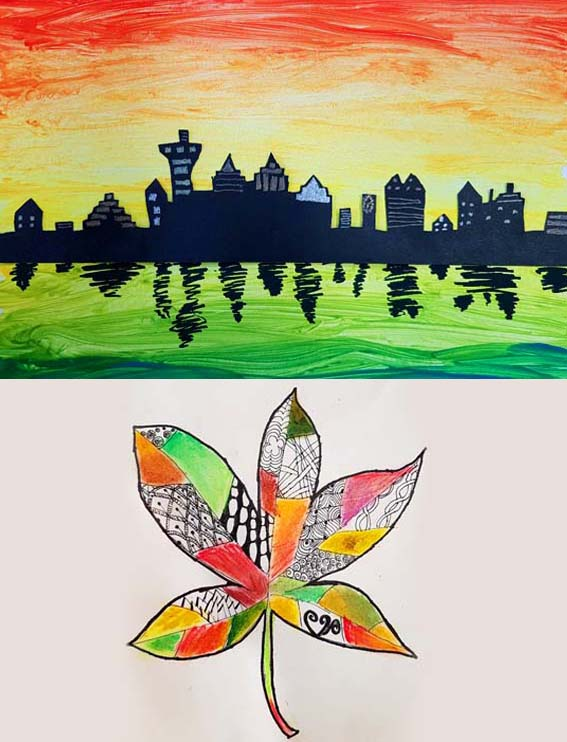 Children's artwork from Chesil Creative's after school art club. A Painted cityscape silhouette and a tangle pattern and oil pastel autumn leaf.